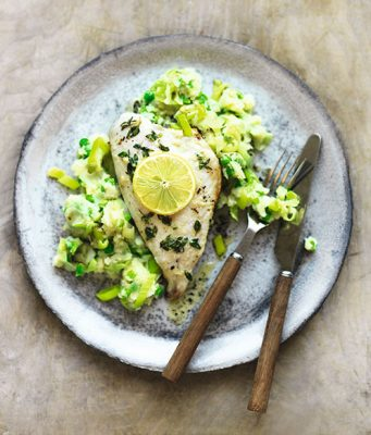 Sea bream with thyme butter and leek & potato mash