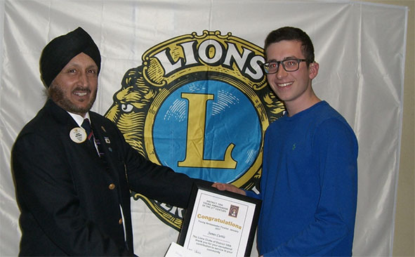 Lions Young Ambassador winner James Curtis