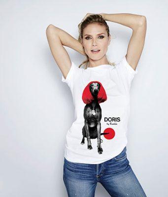 Heidi Klum sporting Doris the Dog for Red Nose Day 2017