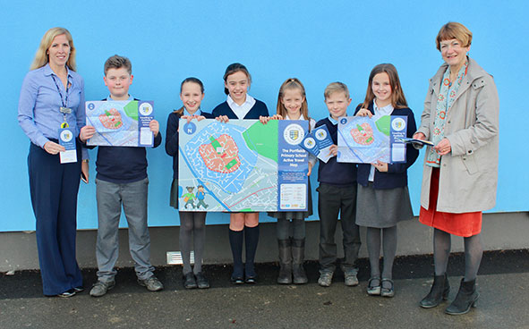 Pupils from Portfields School with their maps