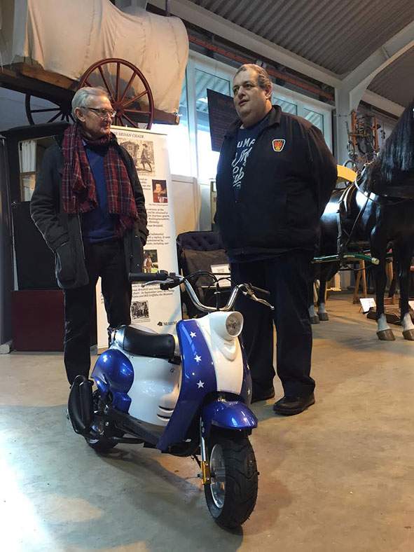 Bill Griffiths (left) with Howard Bradley and the Vespa