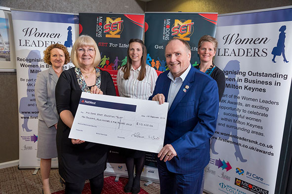 Women Leaders MK presents a cheque for over £10,000 to MK Dons SET