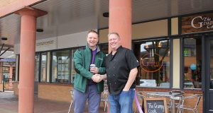 Manager Barry Ashley and The Parks Trust's Head of Property, Ben Allott at the opening of The Grumpy Cook