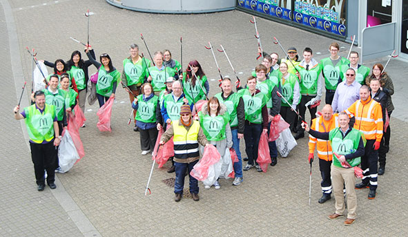 Staff from MKCCM, McDonalds litterpicking earlier in the year