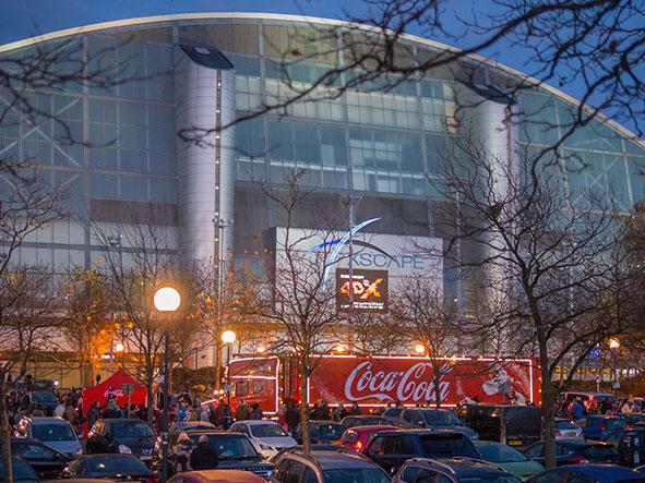 Coca-Cola Christmas Truck outside Xscape in 2016