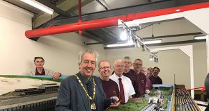 Mayor of Milton Keynes (Cllr David Hopkins) cuts the ribbon on new model railway