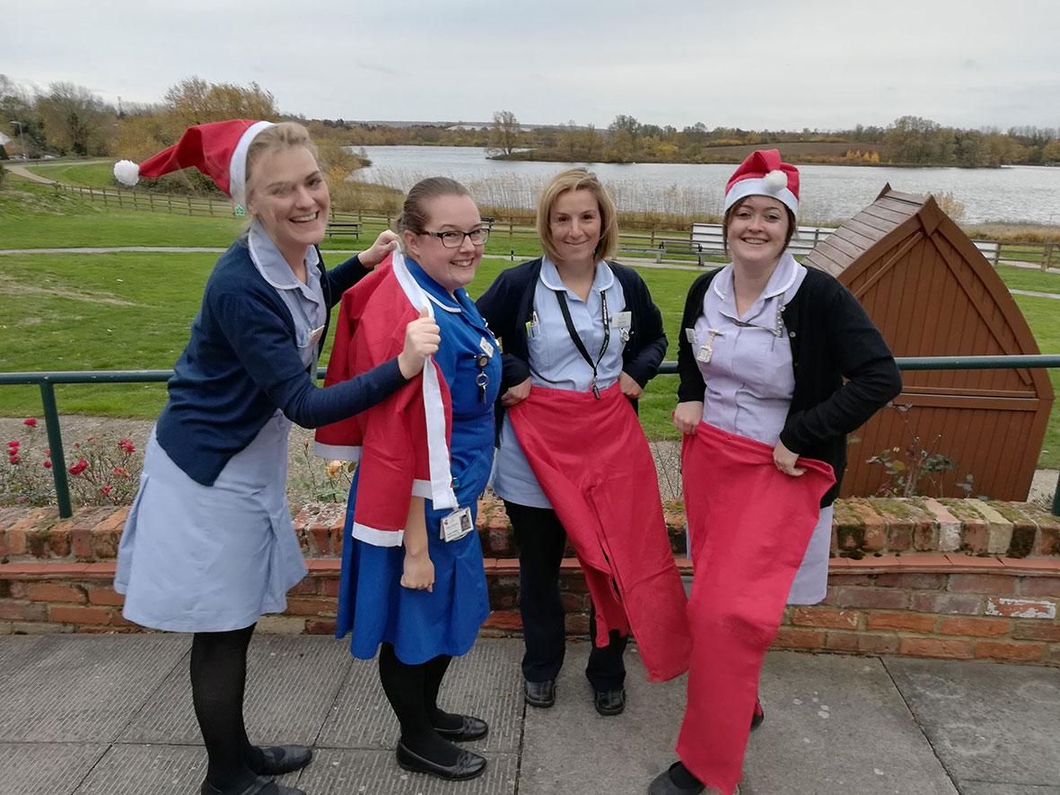 Willen Hospice nurses dress for Santa Dash