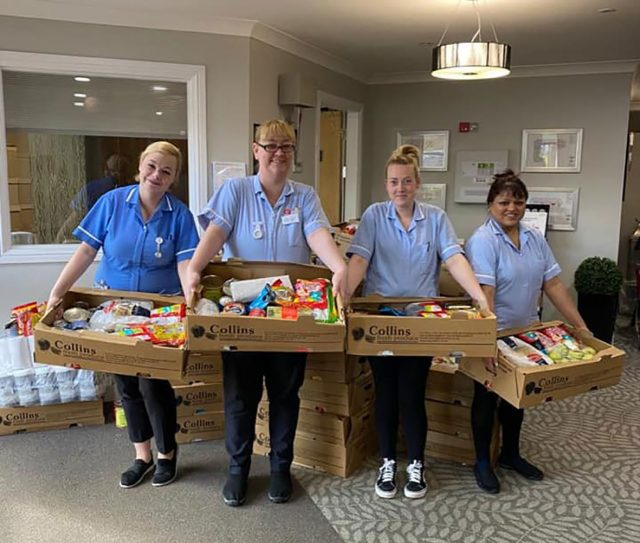 care staff with the 'Care Packages'