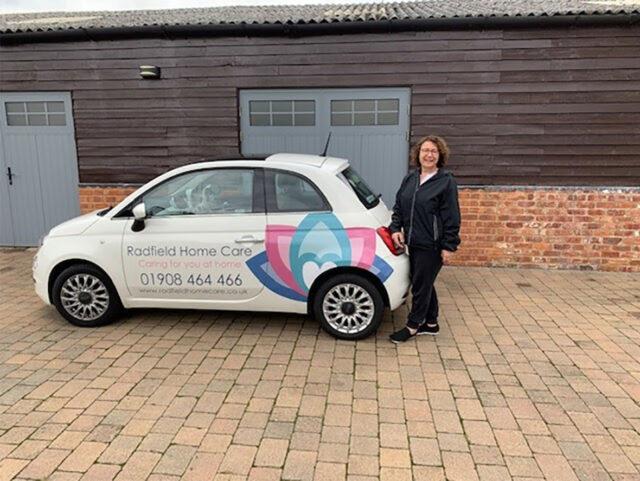 Jane Franks with Radfield Home Care car