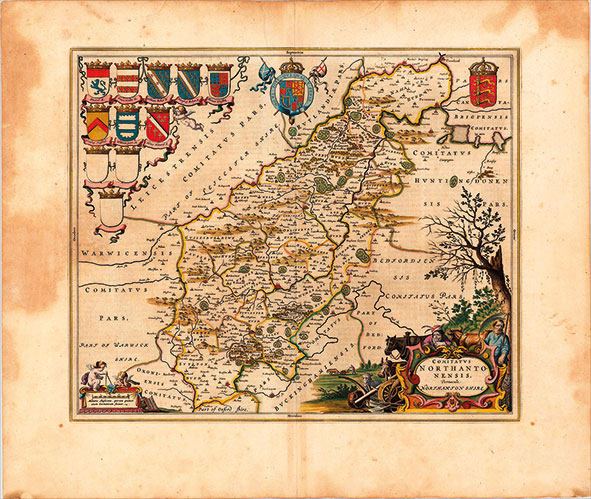 17th-Century-map-of-Northampton-Shire-England