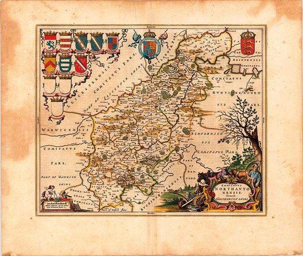 17th-Century-map-of-Northampton-Shire-England